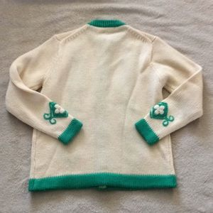 Vintage Sweaters - Vintage Green & Cream Button Up Cardigan